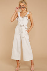 4 Reminds Me Of Me Taupe Striped Jumpsuit at reddressboutique.com