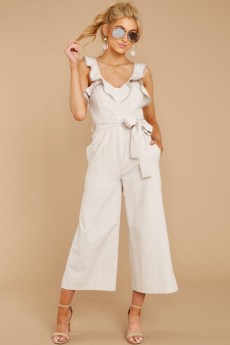 5 Reminds Me Of Me Taupe Striped Jumpsuit at reddressboutique.com
