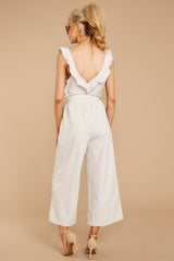 6 Reminds Me Of Me Taupe Striped Jumpsuit at reddressboutique.com