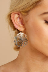 3 Leaf It Alone Gold Earrings at reddressboutique.com