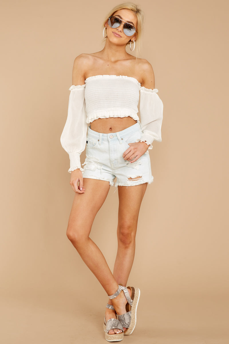 2 First Name Basis White Crop Top at reddressboutique.com