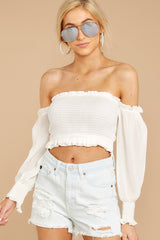 4 First Name Basis White Crop Top at reddressboutique.com