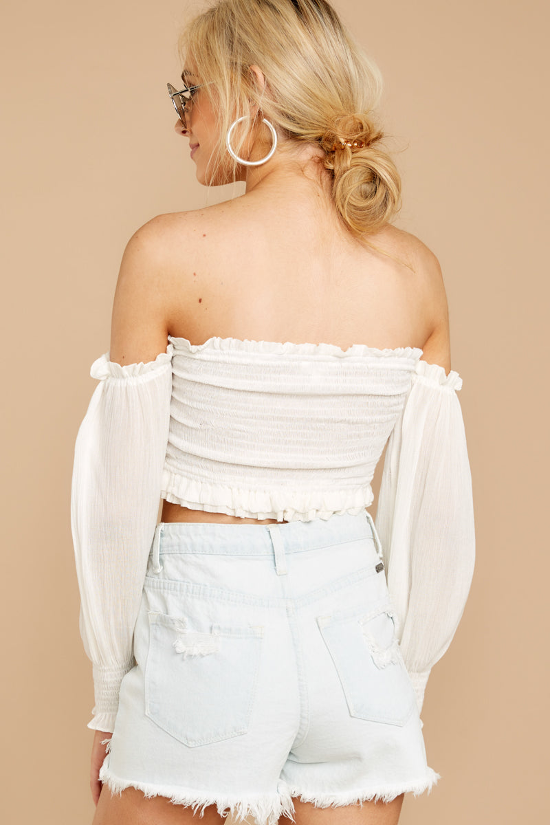 6 First Name Basis White Crop Top at reddressboutique.com