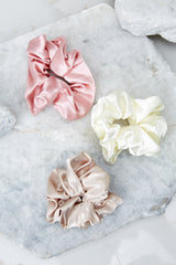 1 Throw It Back Beige Scrunchie at reddressboutique.com