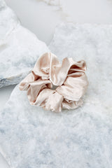 2 Throw It Back Beige Scrunchie at reddressboutique.com