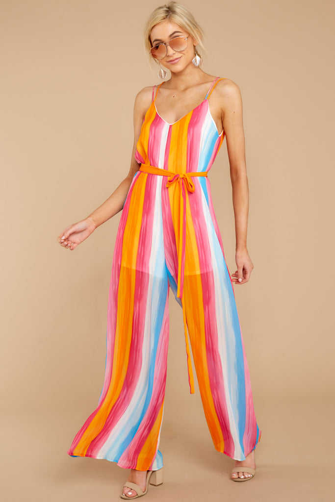 1 Come To Cabo Orange Rainbow Stripe Jumpsuit at reddressboutique.com
