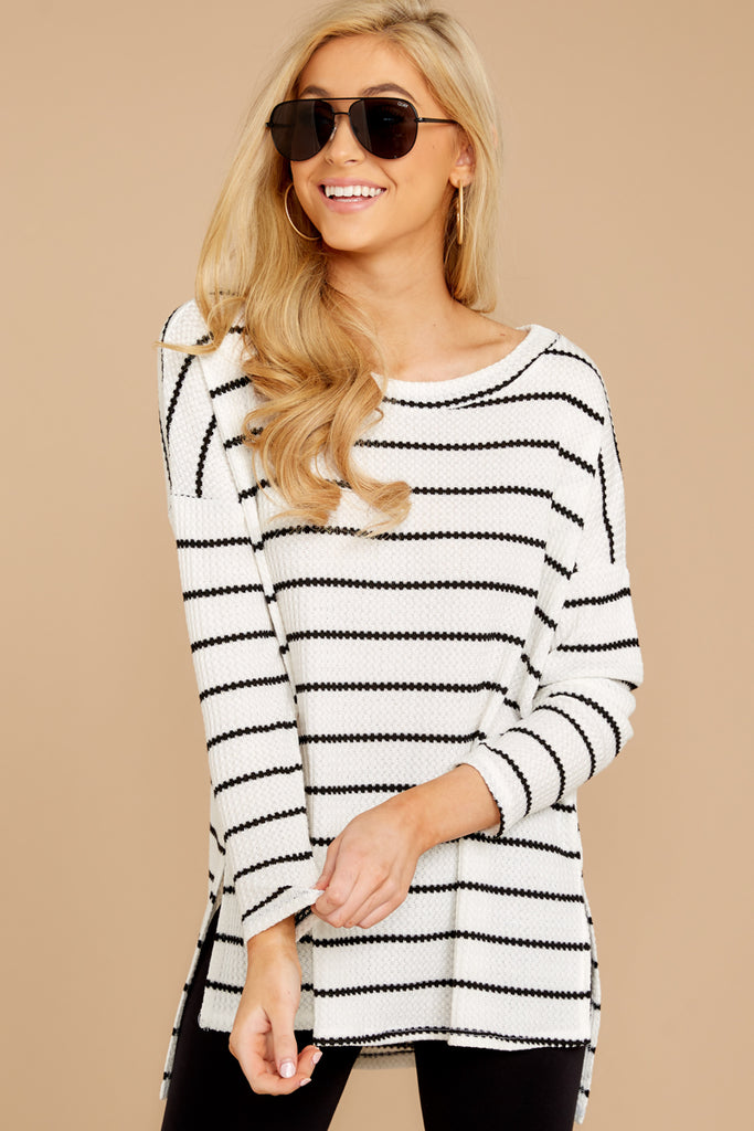 Expect Anything Navy Stripe Long Sleeve Pocket Tee