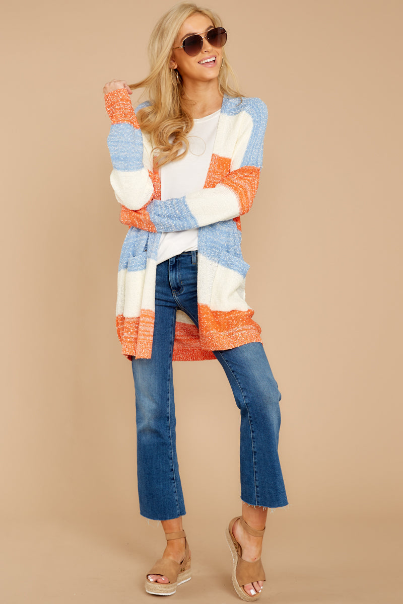 1 Won't Back Down Blue And Orange Stripe Cardigan at reddressboutique.com