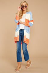 2 Won't Back Down Blue And Orange Stripe Cardigan at reddressboutique.com