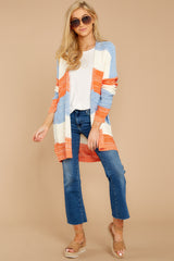 3 Won't Back Down Blue And Orange Stripe Cardigan at reddressboutique.com