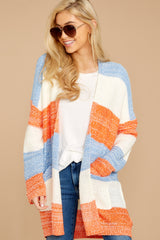 4 Won't Back Down Blue And Orange Stripe Cardigan at reddressboutique.com