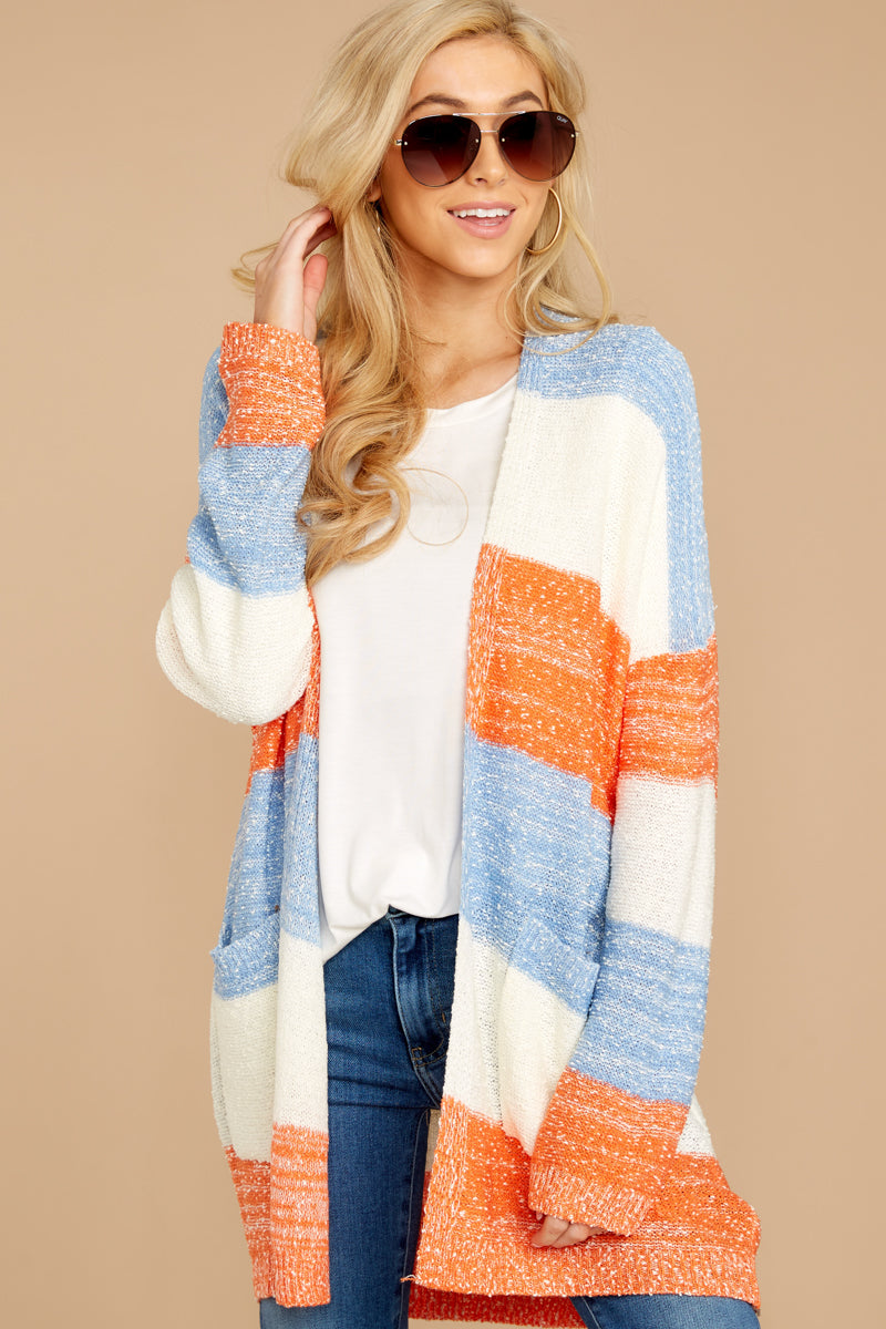 5 Won't Back Down Blue And Orange Stripe Cardigan at reddressboutique.com