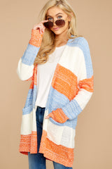 6 Won't Back Down Blue And Orange Stripe Cardigan at reddressboutique.com