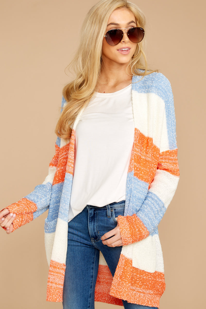 7 Won't Back Down Blue And Orange Stripe Cardigan at reddressboutique.com
