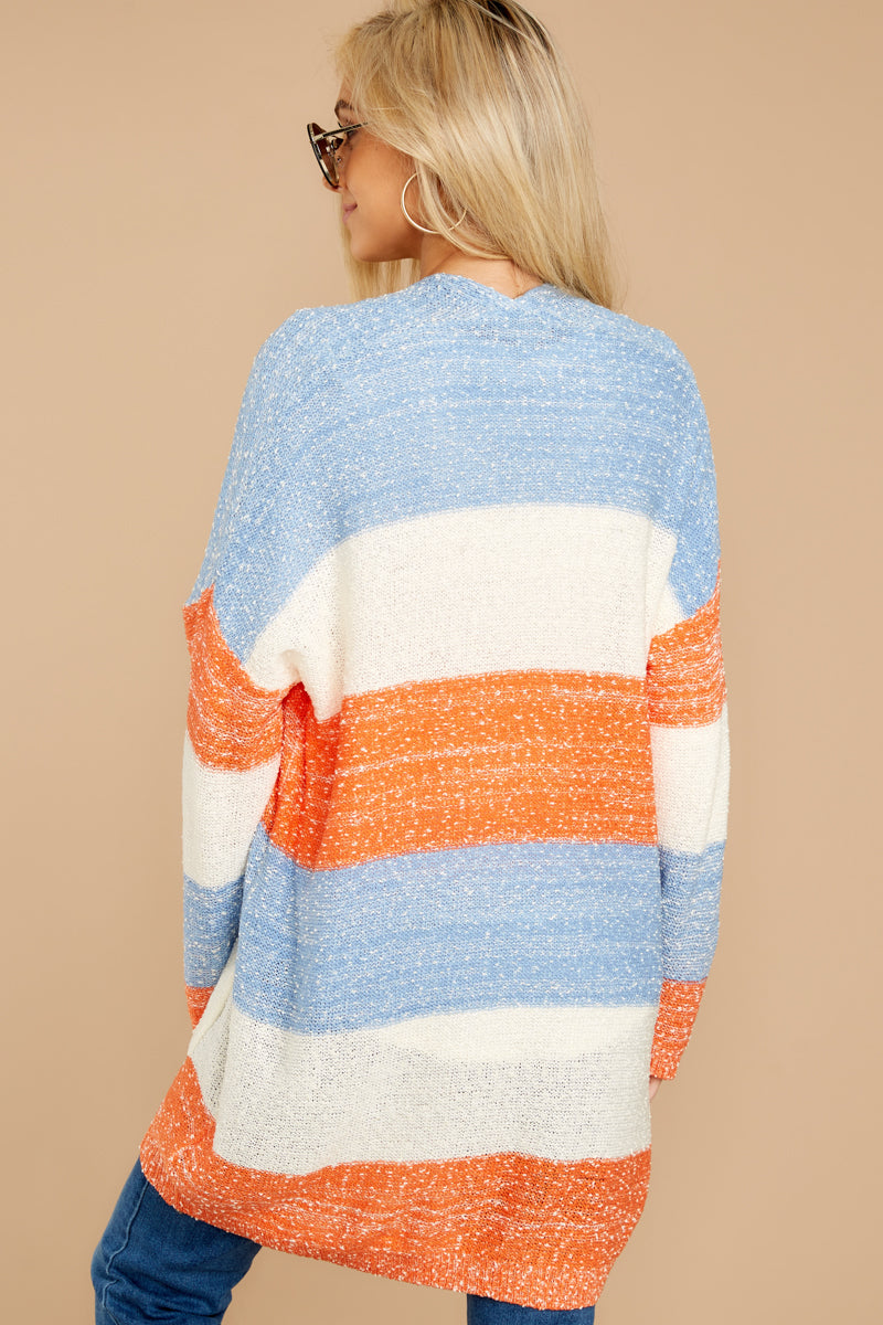 8 Won't Back Down Blue And Orange Stripe Cardigan at reddressboutique.com