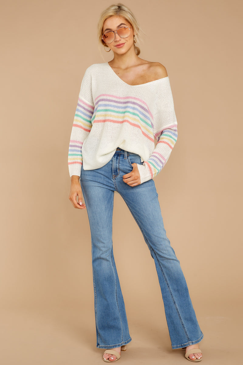 1 Lead The Day Rainbow Stripe Sweater at reddressboutique.com