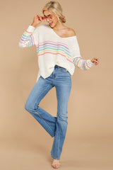 2 Lead The Day Rainbow Stripe Sweater at reddressboutique.com