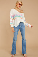 3 Lead The Day Rainbow Stripe Sweater at reddressboutique.com