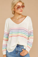 4 Lead The Day Rainbow Stripe Sweater at reddressboutique.com