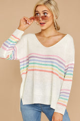 5 Lead The Day Rainbow Stripe Sweater at reddressboutique.com