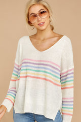 6 Lead The Day Rainbow Stripe Sweater at reddressboutique.com