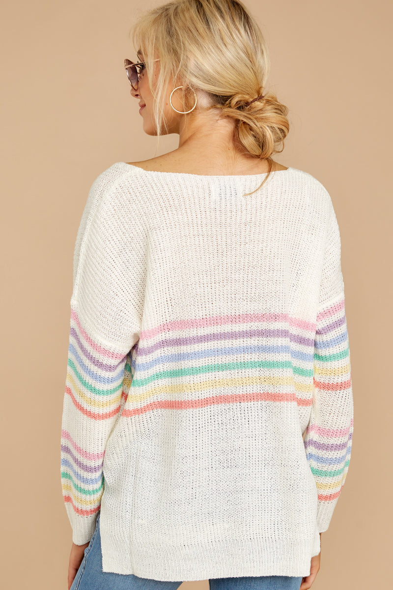 7 Lead The Day Rainbow Stripe Sweater at reddressboutique.com