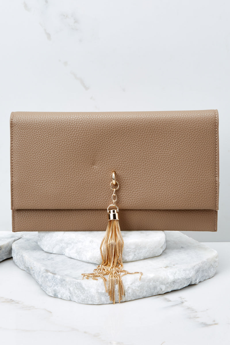 3 Downtown Baby Brown Tasseled Clutch at reddress.com