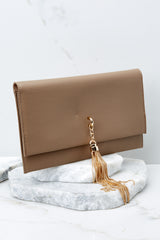3 Stealing Hearts Brown Tasseled Clutch at reddressboutique.com