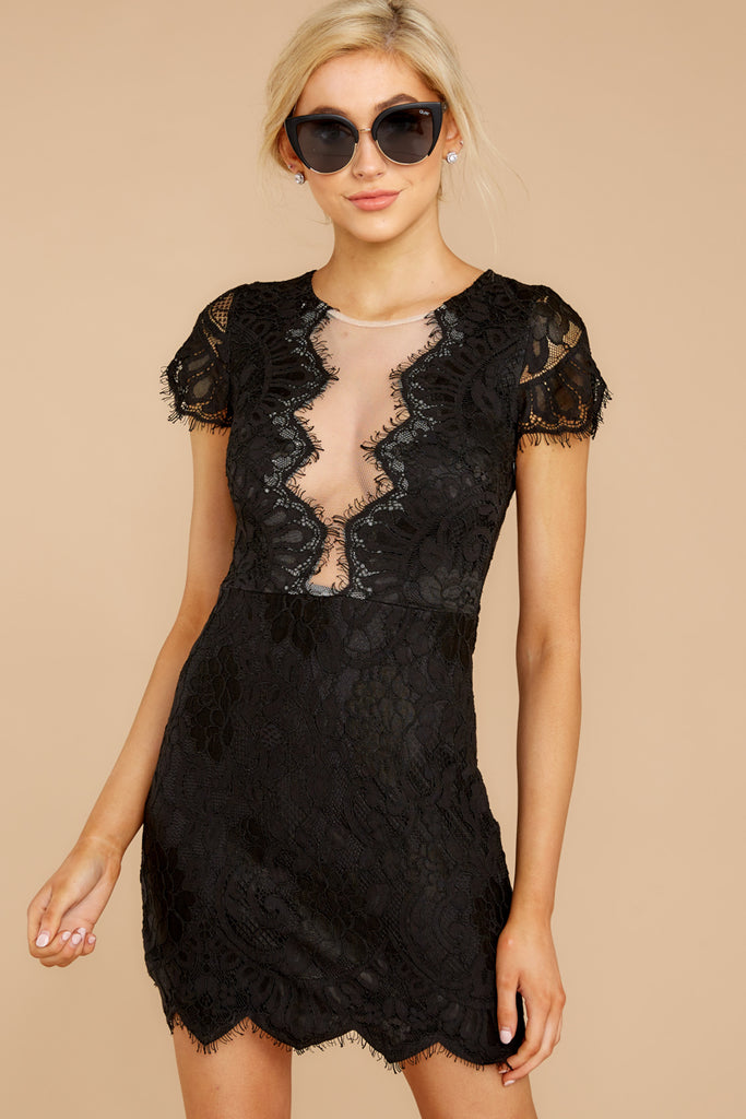 1 Better For It Black Lace Dress at reddressboutique.com
