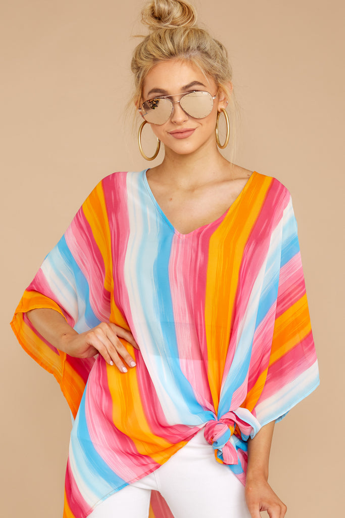 Make It New Bright Blue Multi Stripe Tie Top