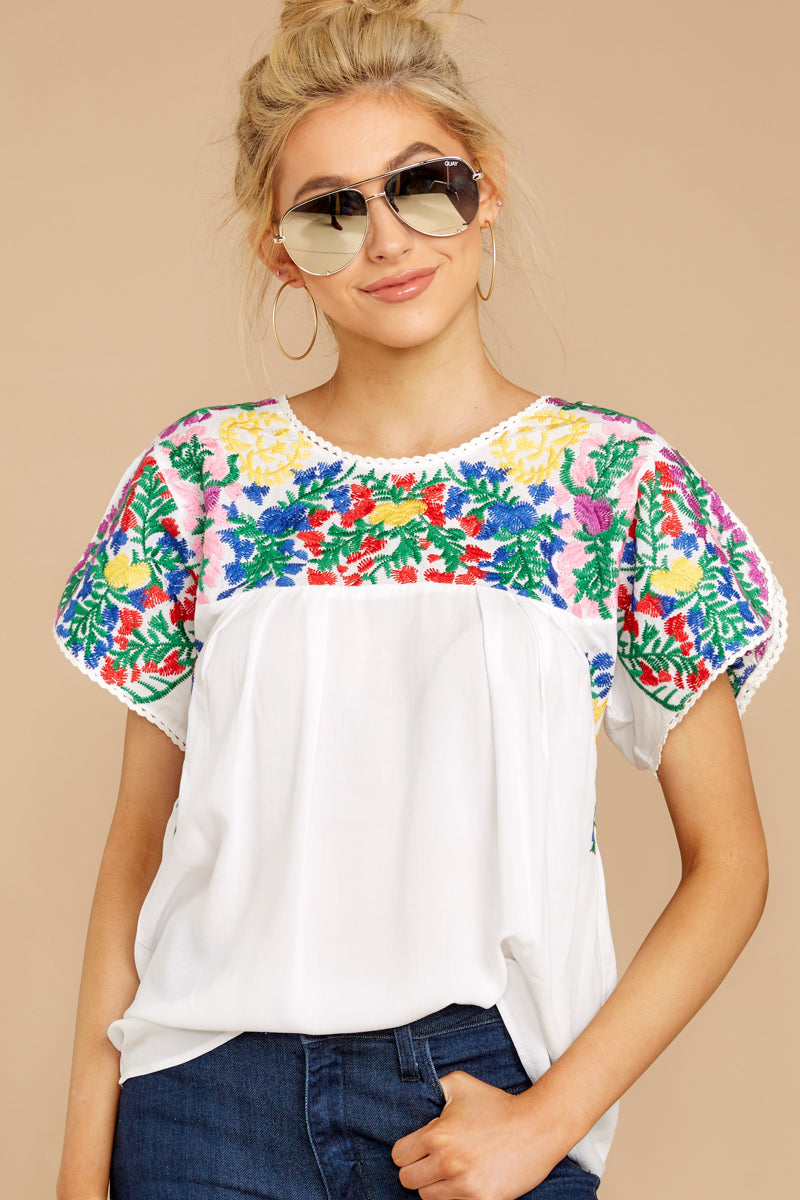 056aa47de54dcc Buddy Love White Embroidered Top - Short Sleeve Blouse - Top -  88 ...