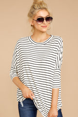 2 See This Smile White And Black Stripe Top at reddressboutique.com