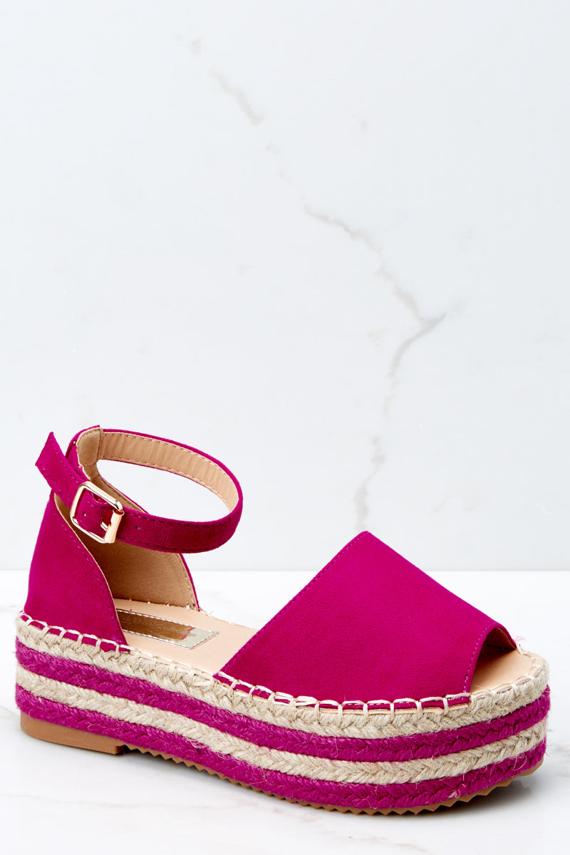 a671582c9ab2 Fun Hot Pink Wedge Sandals - Ankle Strap Platform Wedges - Shoes ...