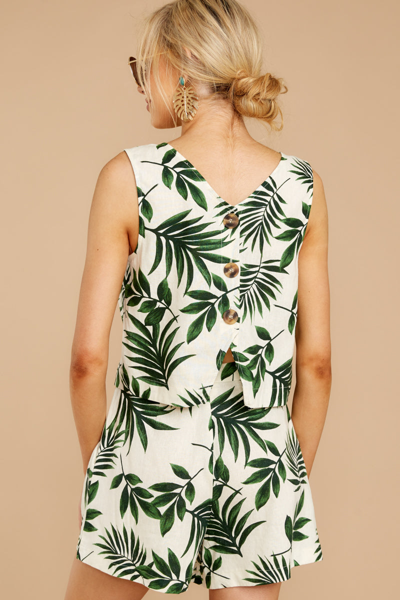 Back Again Green Palm Print Two Piece Set