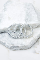 Drop Me A Line Silver Hair Tie Set Of Three