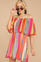 Off the Shoulder Polyester Elasticized Waistline Striped Tropical Print Dress With Ruffles