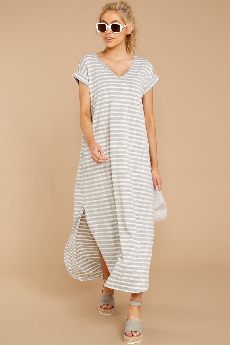 1 Forever Different Light Grey Stripe Maxi Dress at reddressboutique.com