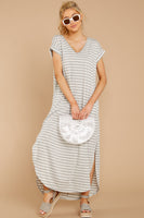 V-neck Striped Print Dolman Sleeves High-Low-Hem Short Slit Gathered Pocketed Sheer Maxi Dress