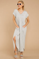 3 Forever Different Light Grey Stripe Maxi Dress at reddressboutique.com