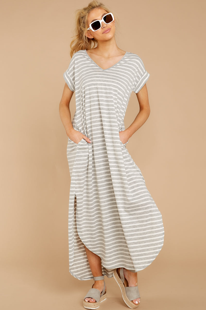 4 Forever Different Light Grey Stripe Maxi Dress at reddressboutique.com