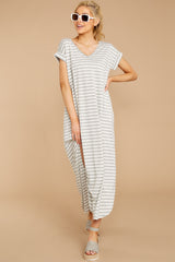 5 Forever Different Light Grey Stripe Maxi Dress at reddressboutique.com
