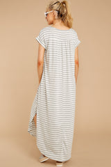 6 Forever Different Light Grey Stripe Maxi Dress at reddressboutique.com