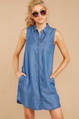3 Sweetest Delight Chambray Button Up Dress at reddressboutique.com