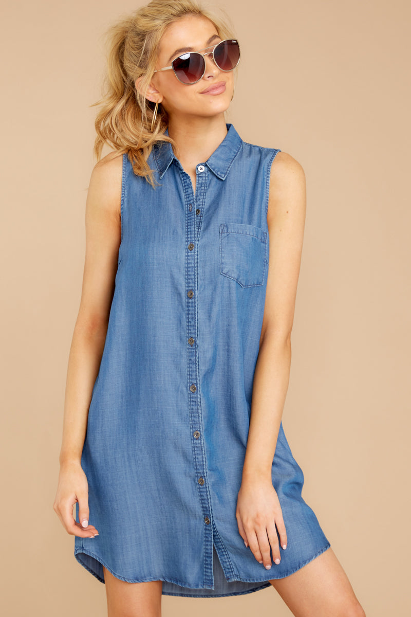 4 Sweetest Delight Chambray Button Up Dress at reddressboutique.com