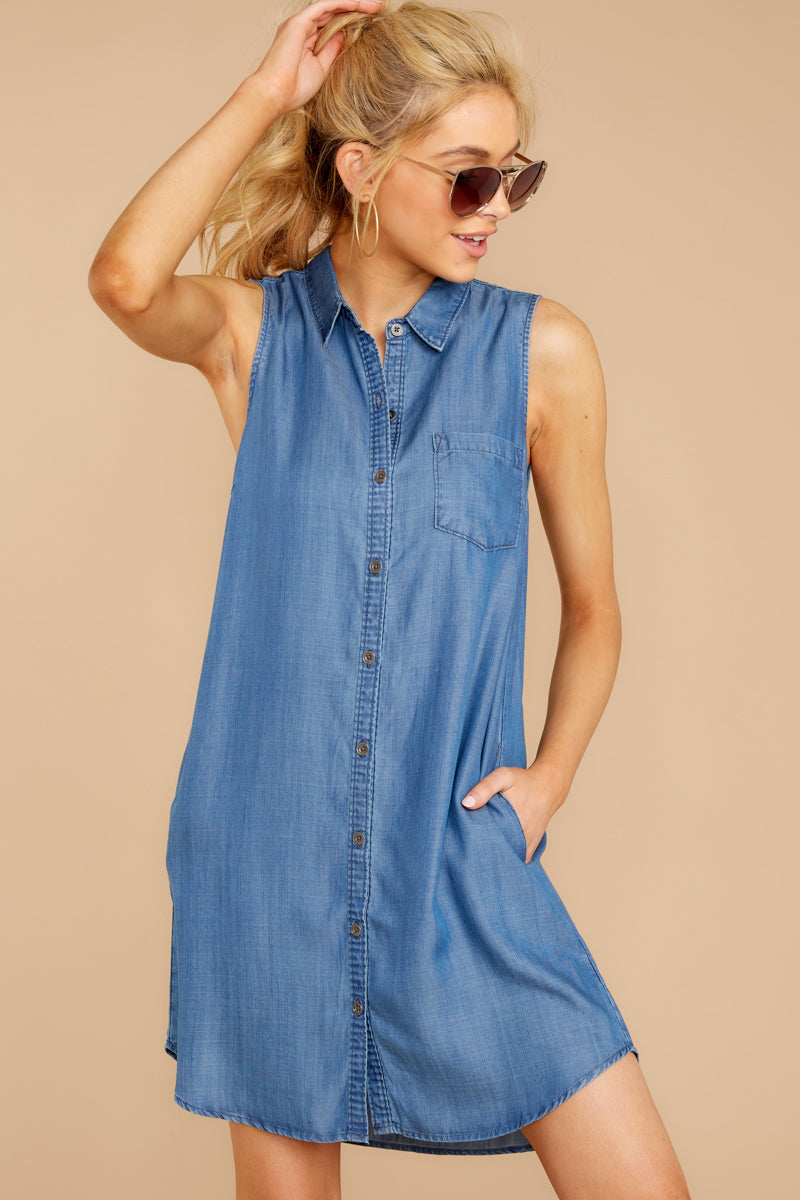 5 Sweetest Delight Chambray Button Up Dress at reddressboutique.com