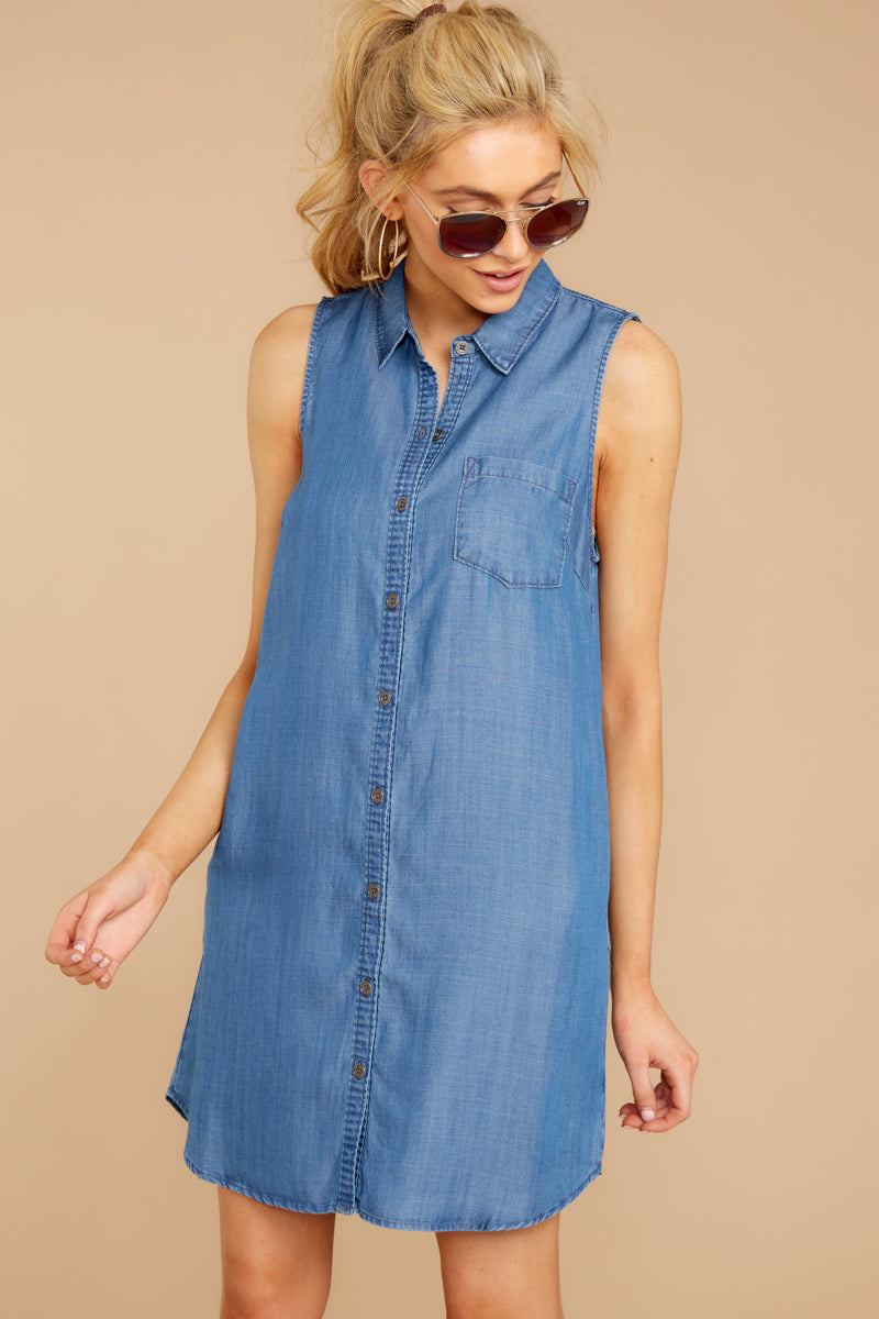 6 Sweetest Delight Chambray Button Up Dress at reddressboutique.com
