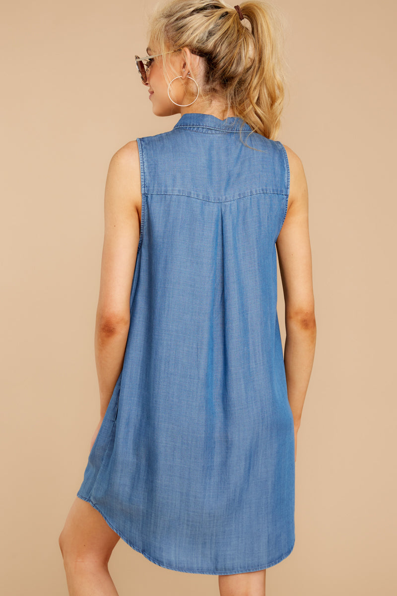 7 Sweetest Delight Chambray Button Up Dress at reddressboutique.com