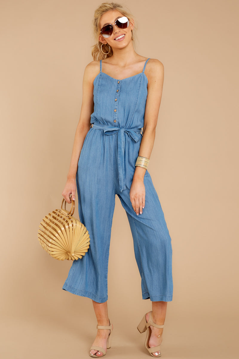 6317ba9faf Stylish Blue Chambray Jumpsuit - Sleeveless Jumpsuit - Playsuit ...