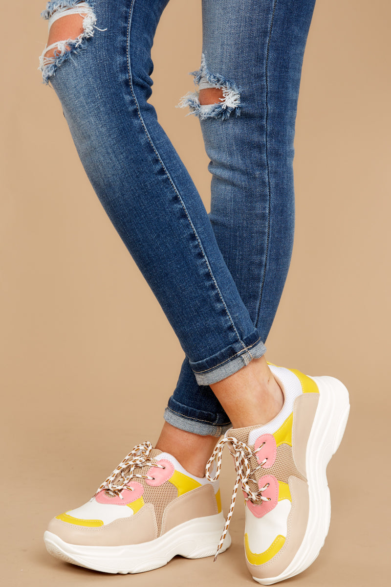 4 Quick To It Sneakers In Yellow And Pink at reddressboutique.com
