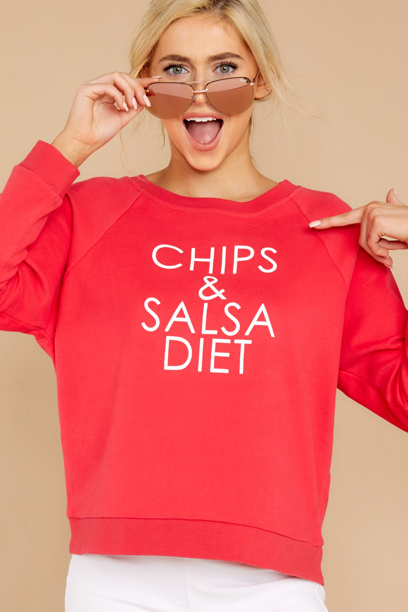 531cacf9e Sassy Red Graphic Sweatshirt - Chips And Salsa Pullover - Top ...